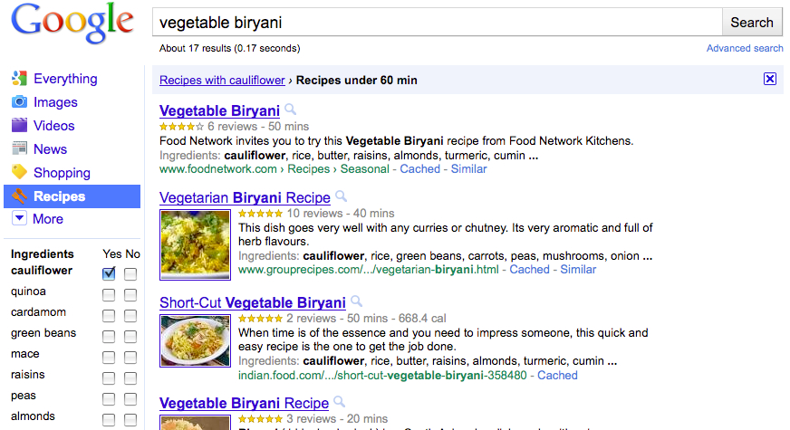 buscador de receitas do Google
